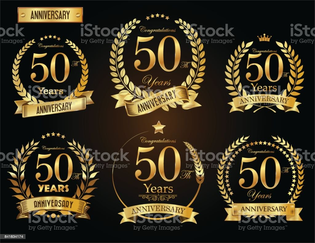 Anniversary golden laurel wreath vector collection - illustrazione arte vettoriale