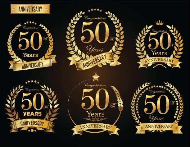 ilustrações, clipart, desenhos animados e ícones de coleção de vetor de coroa de louro dourado aniversário - data especial