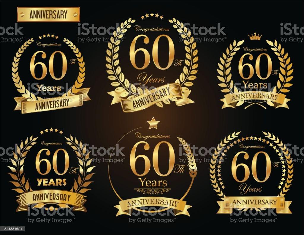 Anniversary golden laurel wreath vector collection - illustrazione arte vettoriale