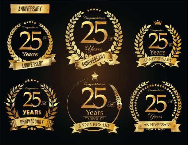 ilustrações, clipart, desenhos animados e ícones de coleção de vetor de coroa de louro dourado aniversário - 25 30 anos