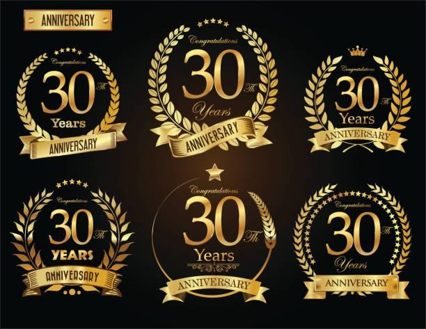 goldener lorbeer kranz vektor jubiläumskollektion - 30 34 jahre stock-grafiken, -clipart, -cartoons und -symbole