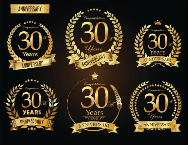 周年記念黄金月桂樹の花輪ベクトル コレクション - 30 34歳点のイラスト素材/クリップアート素材/マンガ素材/アイコン素材