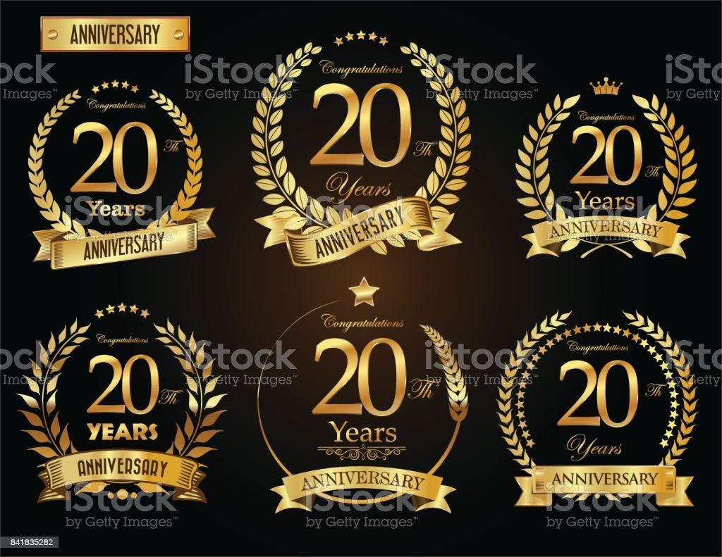 Goldener Lorbeer Kranz Vektor Jubiläumskollektion – Vektorgrafik