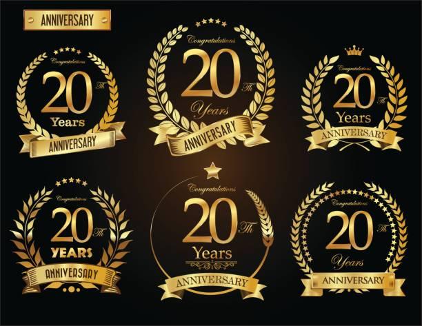 illustrazioni stock, clip art, cartoni animati e icone di tendenza di anniversary golden laurel wreath vector collection - 20 24 anni