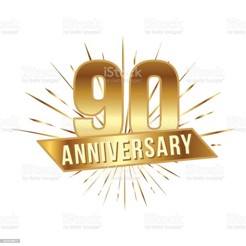 Geburtstag goldene neunzig Jahre Zahl – Vektorgrafik