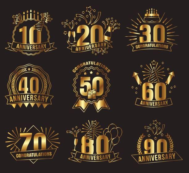 ilustrações, clipart, desenhos animados e ícones de conjunto de números de aniversário dourado - data especial