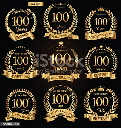 istock Anniversary golden retro laurel wreath vector illustration collection 883863098