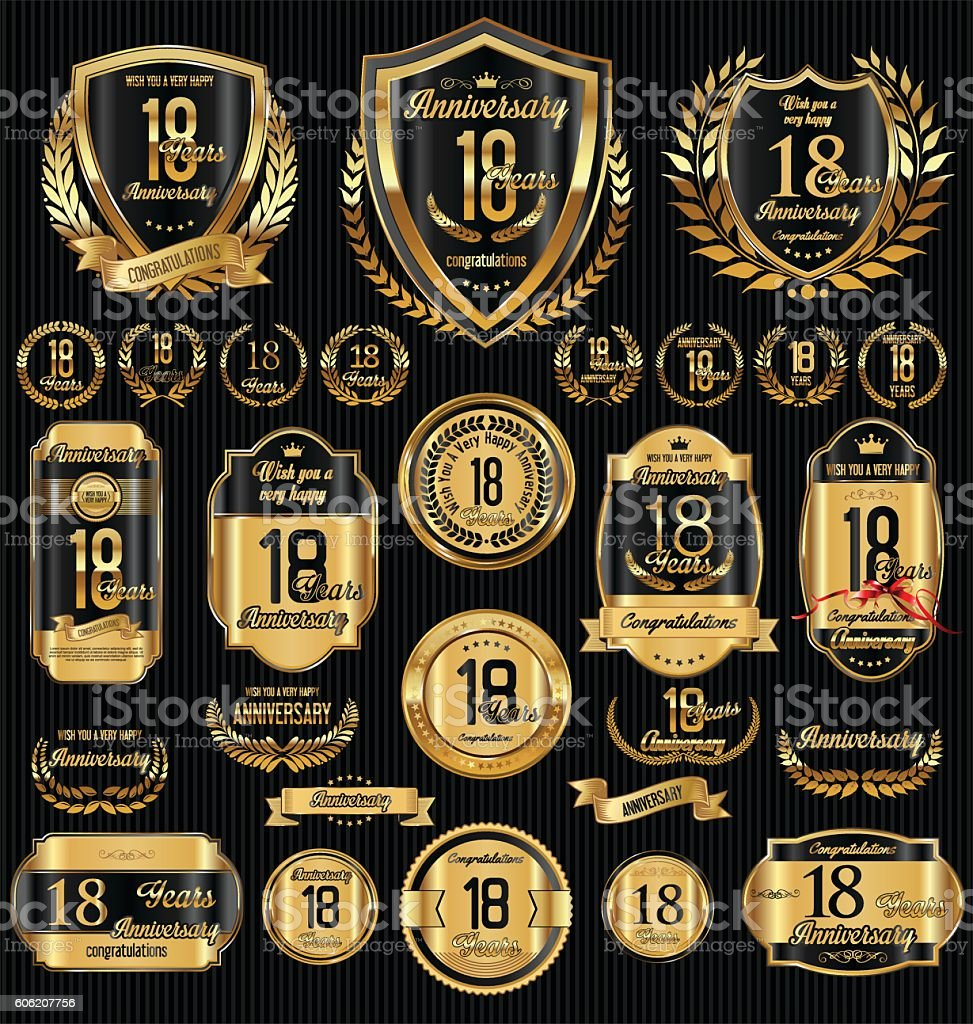 Anniversary golden retro vintage labels collection vector art illustration
