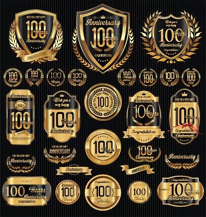 Vetores de Anniversary Golden Shields Laurel Wreaths And Badges Collection e mais imagens de Amor
