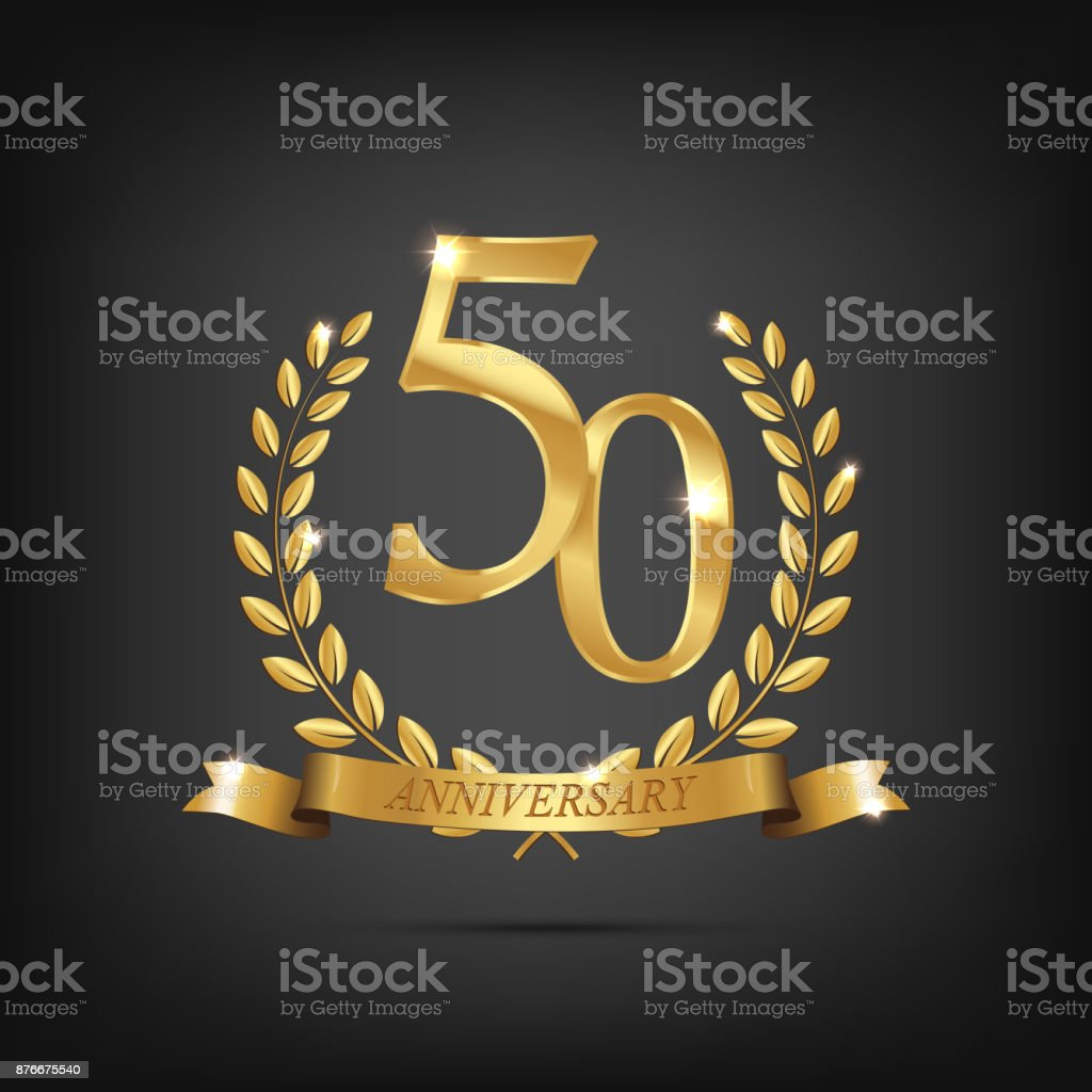 50 anniversary golden symbol. Golden laurel wreaths with ribbons and fifty anniversary year symbol on dark background. Vector anniversary design element. vector art illustration