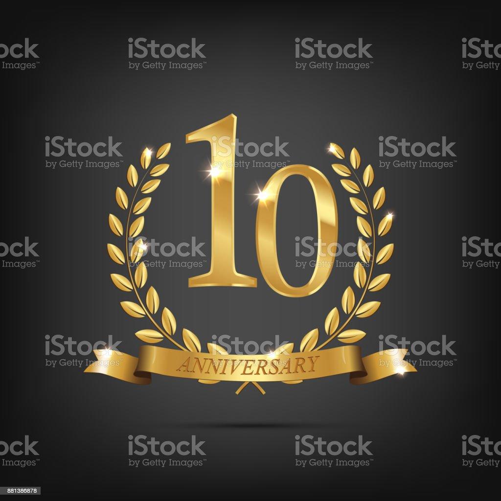 10 anniversary golden symbol. Golden laurel wreaths with ribbons and tenth anniversary year symbol on dark background. Vector anniversary design element. vector art illustration