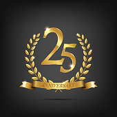 25 anniversary golden symbol. Golden laurel wreaths with ribbons and twenty fifth anniversary year symbol on dark background. Vector anniversary design element.