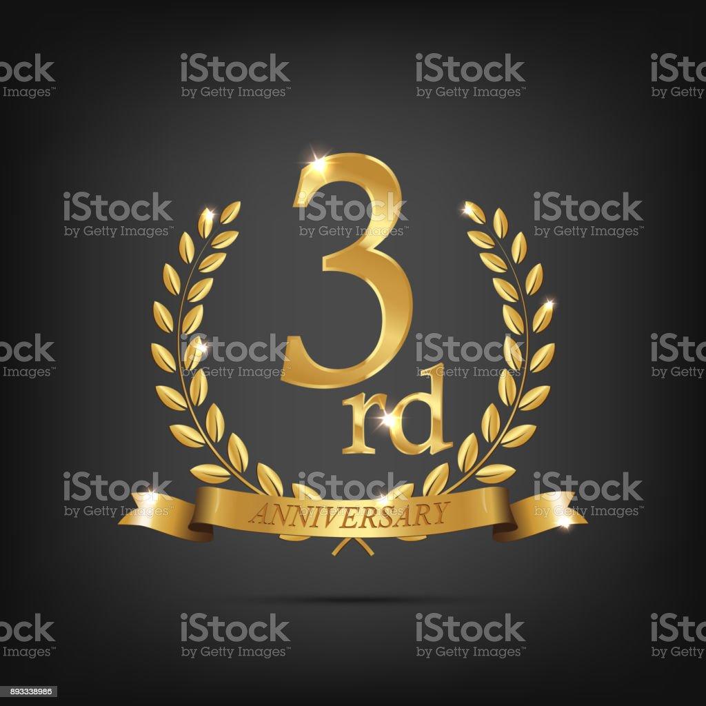 3 Anniversary Golden Symbol Golden Laurel Wreaths With