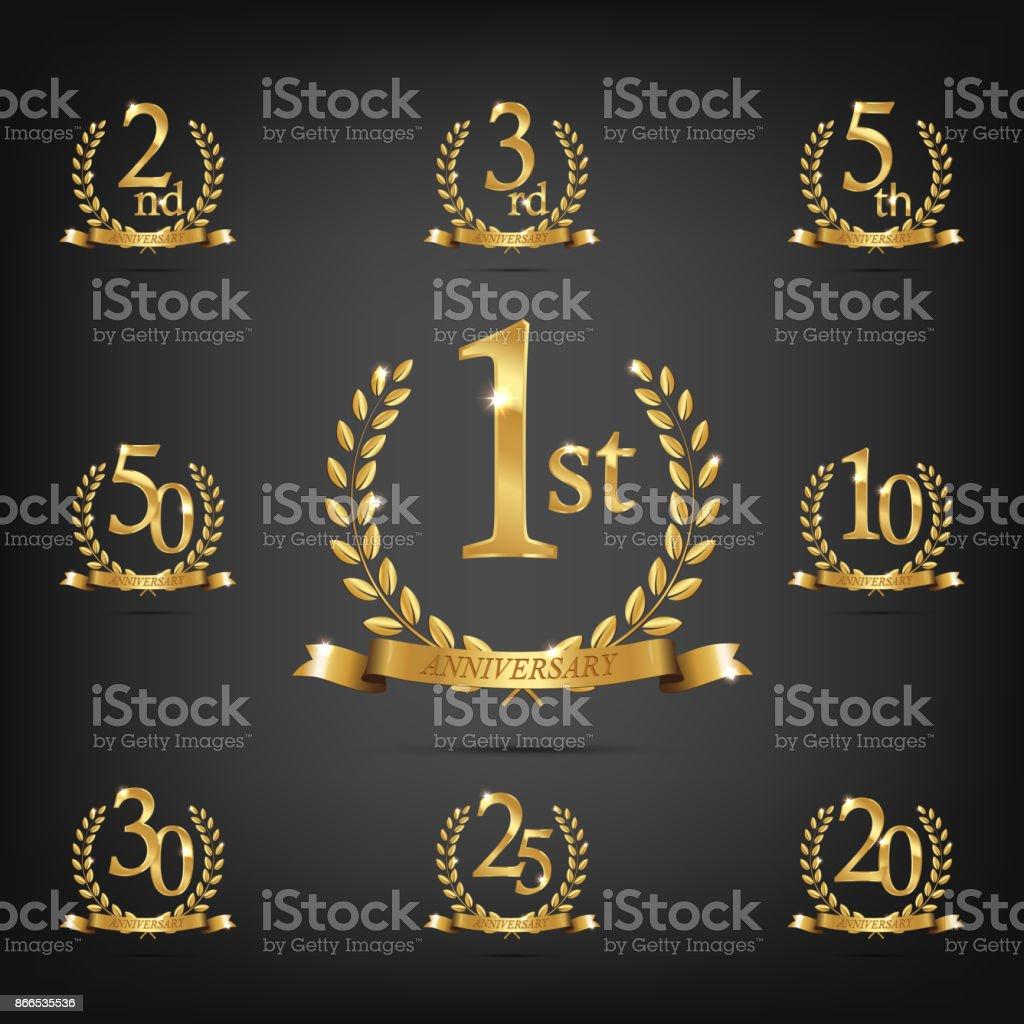 Anniversary golden symbol set. Golden laurel wreaths with ribbons and anniversary year symbols on dark background. Vector anniversary design element. vector art illustration