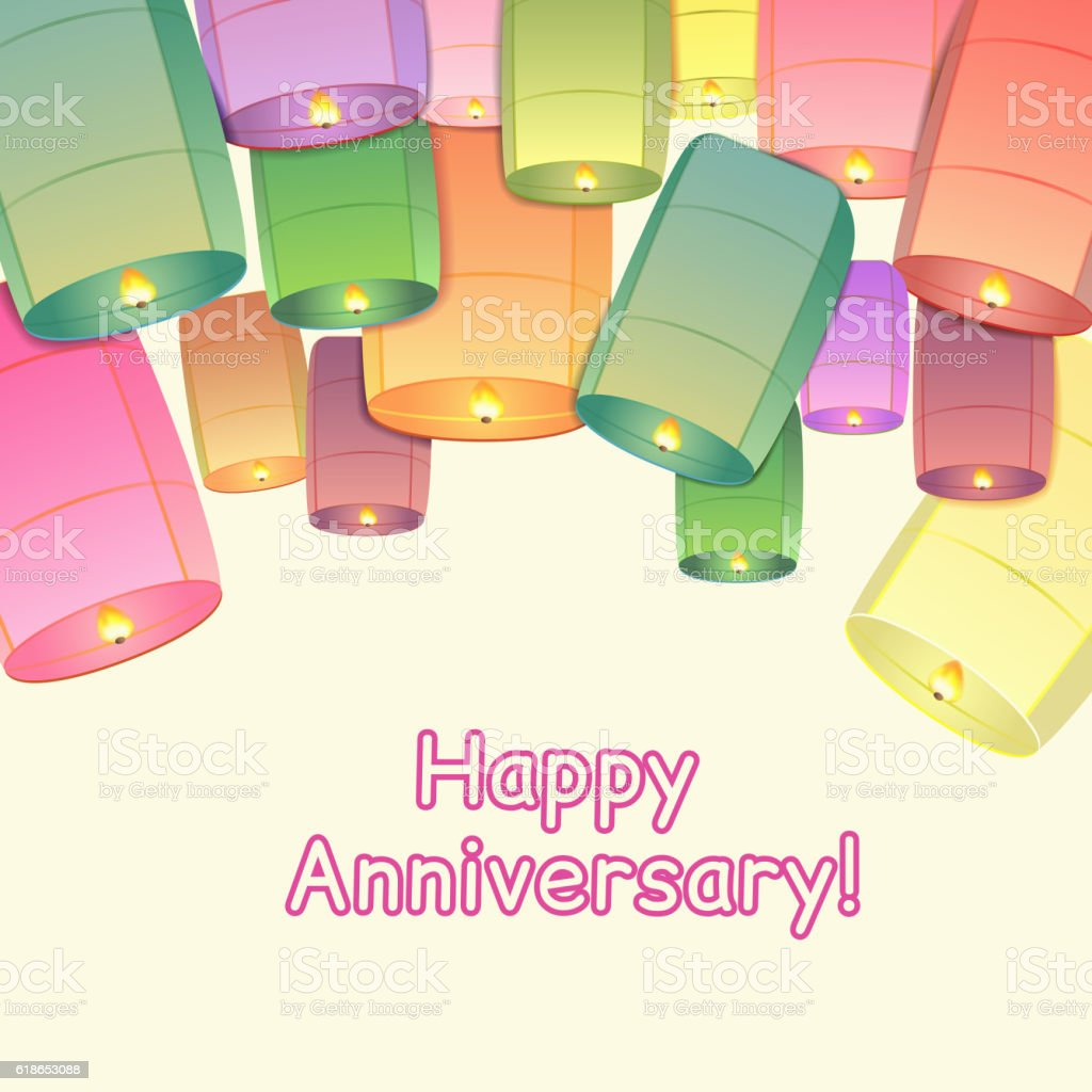 Anniversary Greeting Card With Sky Lanterns Stock Vector Art More