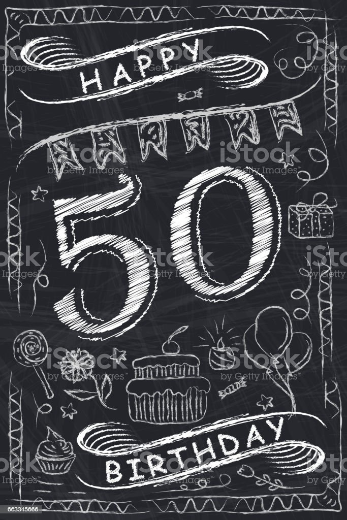 Anniversary Happy Birthday Card Design on Chalkboard. 50 Years
