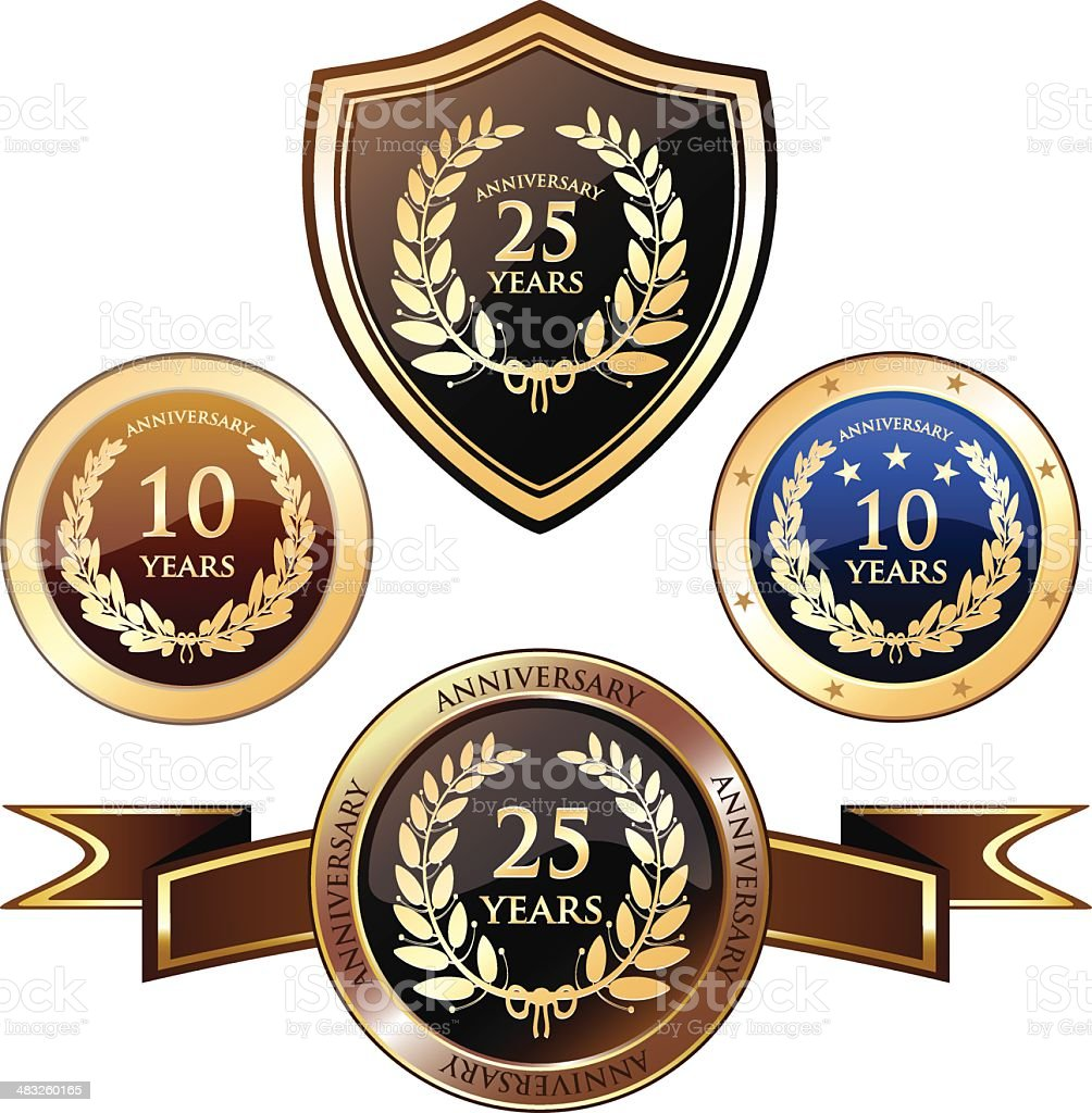 Anniversary Heraldry Badges royalty-free anniversary heraldry badges stock vector art & more images of 10-11 years