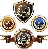 Anniversary heraldry badges with laurels.