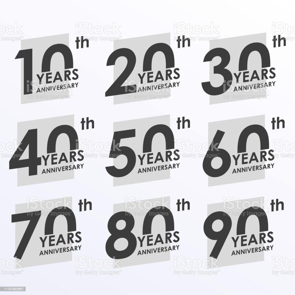Ilustración De Conjunto De Iconos De Aniversario 10 20 30 40