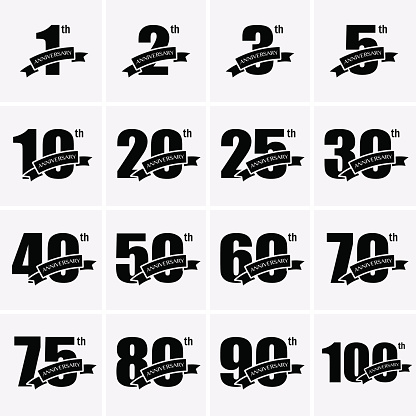 Anniversary Icons. Vector logo for design
