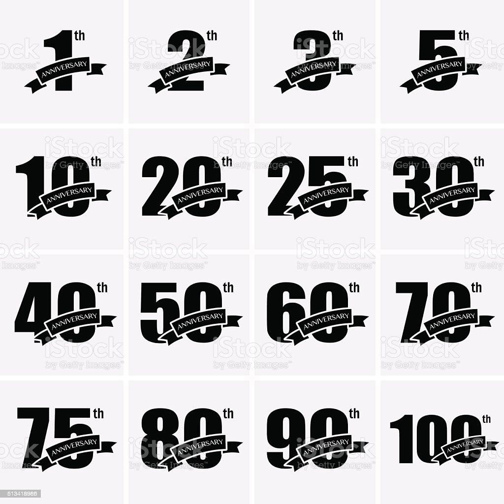 Icone di anniversario - illustrazione arte vettoriale