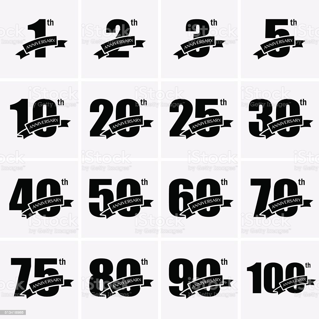 Anniversary Icons vector art illustration