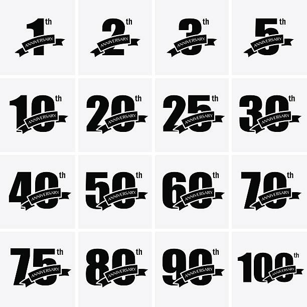 bildbanksillustrationer, clip art samt tecknat material och ikoner med anniversary icons - 25 29 år