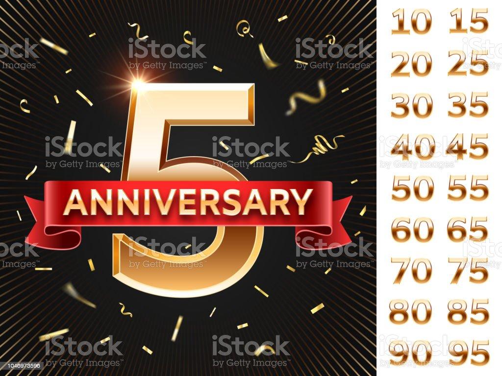 Anniversary Invitation Card Celebration Cards With Golden Confetti ...