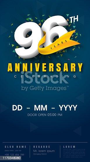 96 years anniversary invitation card - celebration template  design , 96th anniversary modern design elements, dark blue  background - vector illustration
