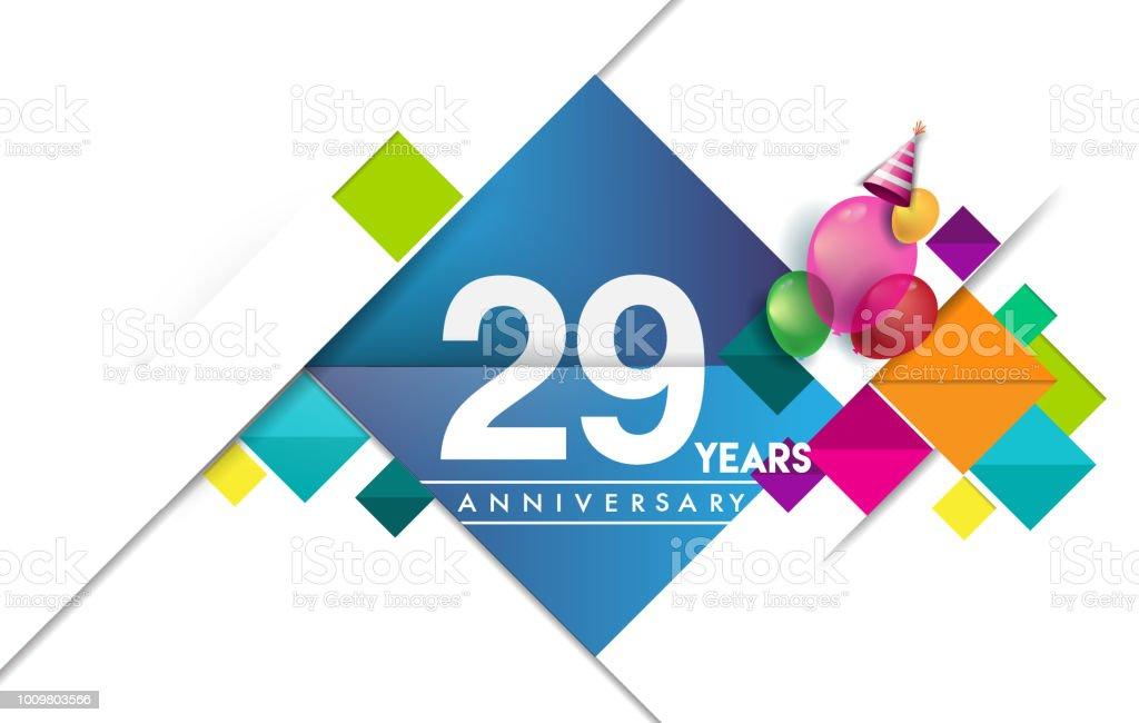Anniversary invitation design, vector design birthday celebration with colorful geometric pattern vector art illustration