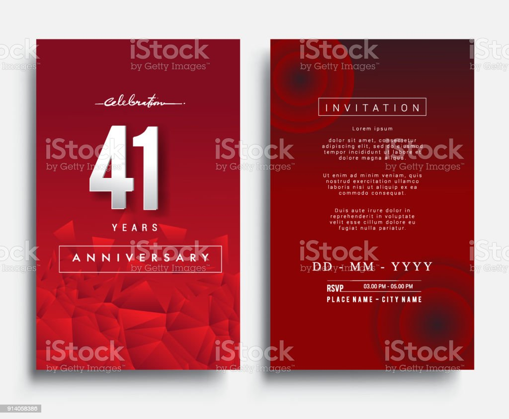 Anniversary invitationgreeting card with flat design and elegant