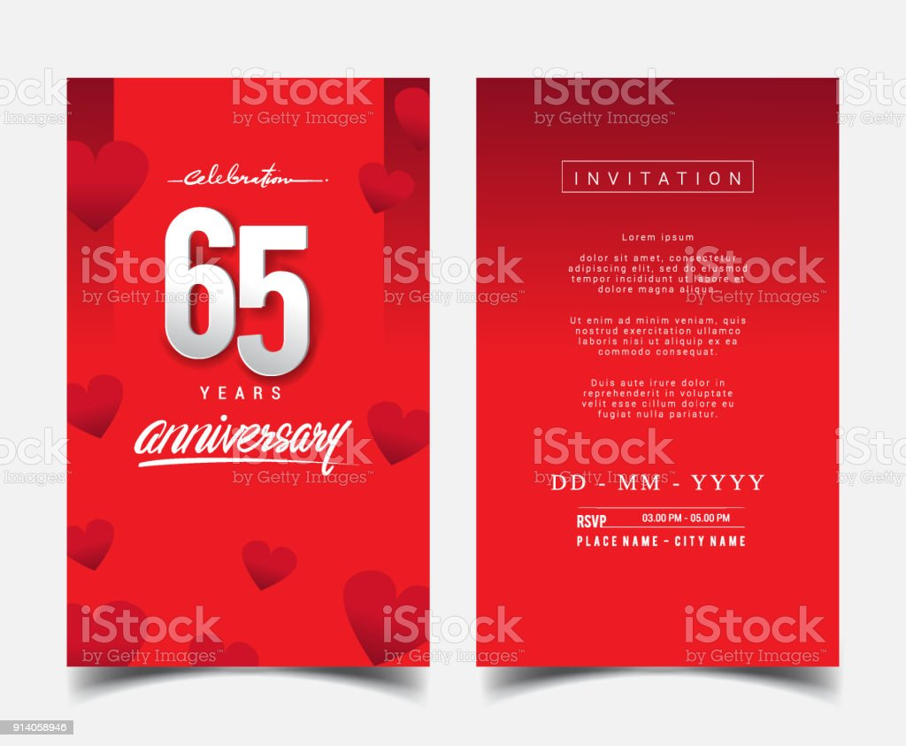 Anniversary Invitation/Greeting Card with Flat Design and Elegant vector art illustration