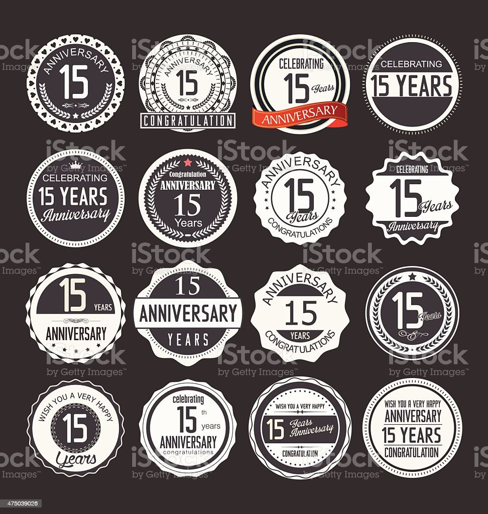 Anniversary label collection, 15 years vector art illustration