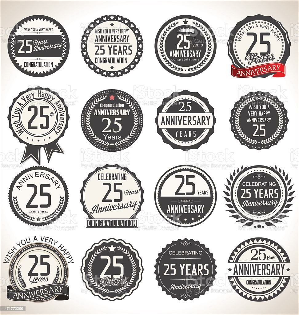 Anniversary label collection, 25 years vector art illustration