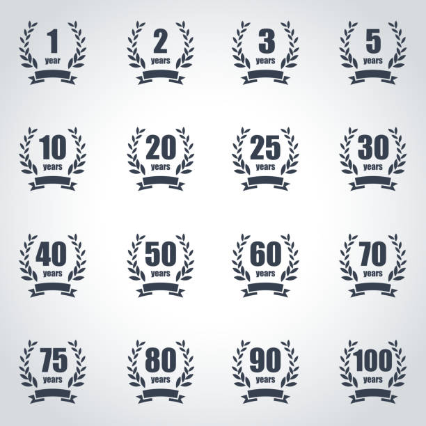 Anniversary label collection Anniversary label collection 20 29 years stock illustrations