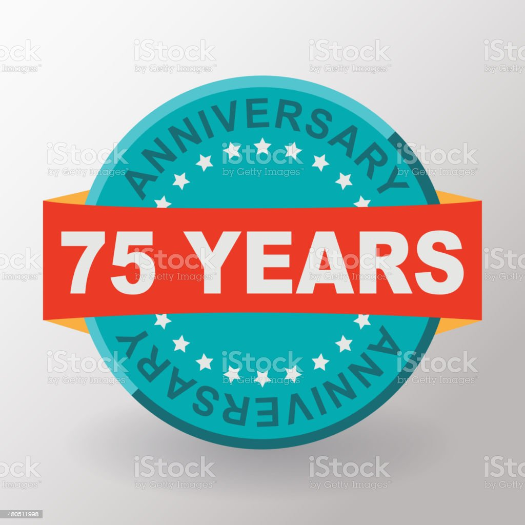 75 Anniversary label with ribbon. Flat design. vector art illustration