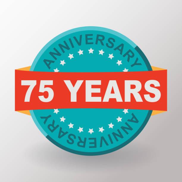 75 Anniversary label with ribbon. Flat design. vector art illustration