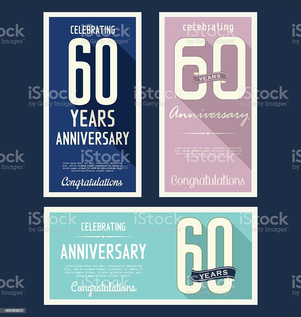 Anniversary labels collection, 60 years vector art illustration
