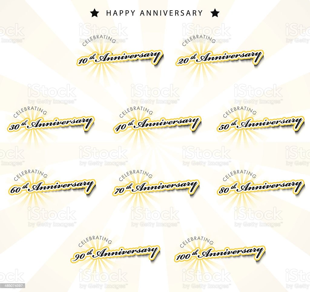 Anniversary labels royalty-free stock vector art