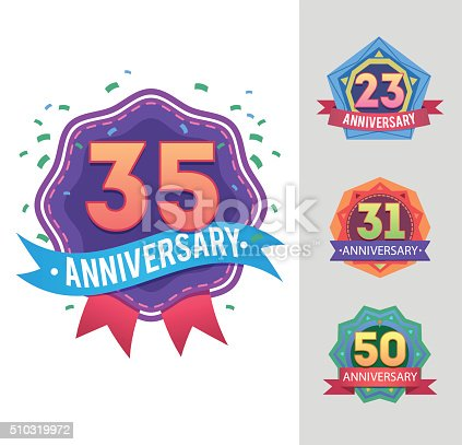 Abstract badges set. anniversary labels. Celebration icons with numbers from ribbons and fireworks.