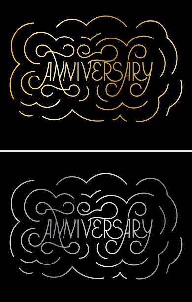 anniversary lettering on blackbackground. Gold and silver Callygraphy card template. Vector vector art illustration