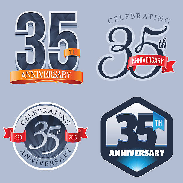 ilustrações, clipart, desenhos animados e ícones de logotipo de aniversário de 10 anos - 35 39 anos