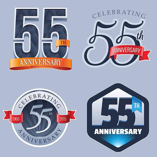 bildbanksillustrationer, clip art samt tecknat material och ikoner med anniversary logo - 55 years - 55 59 år