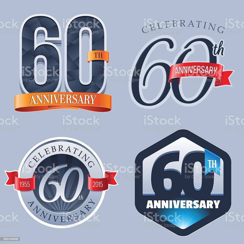 Anniversary Logo - 60 Years vector art illustration