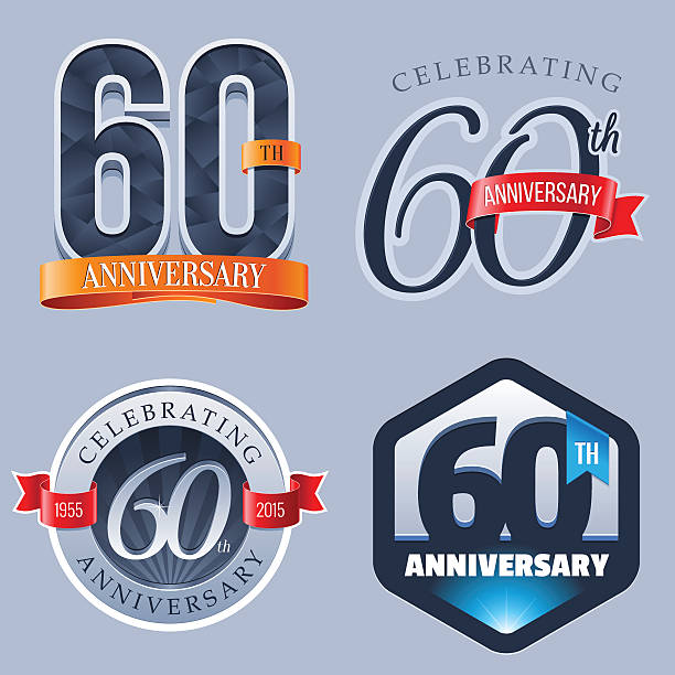 Anniversary Logo - 60 Years vector art illustration