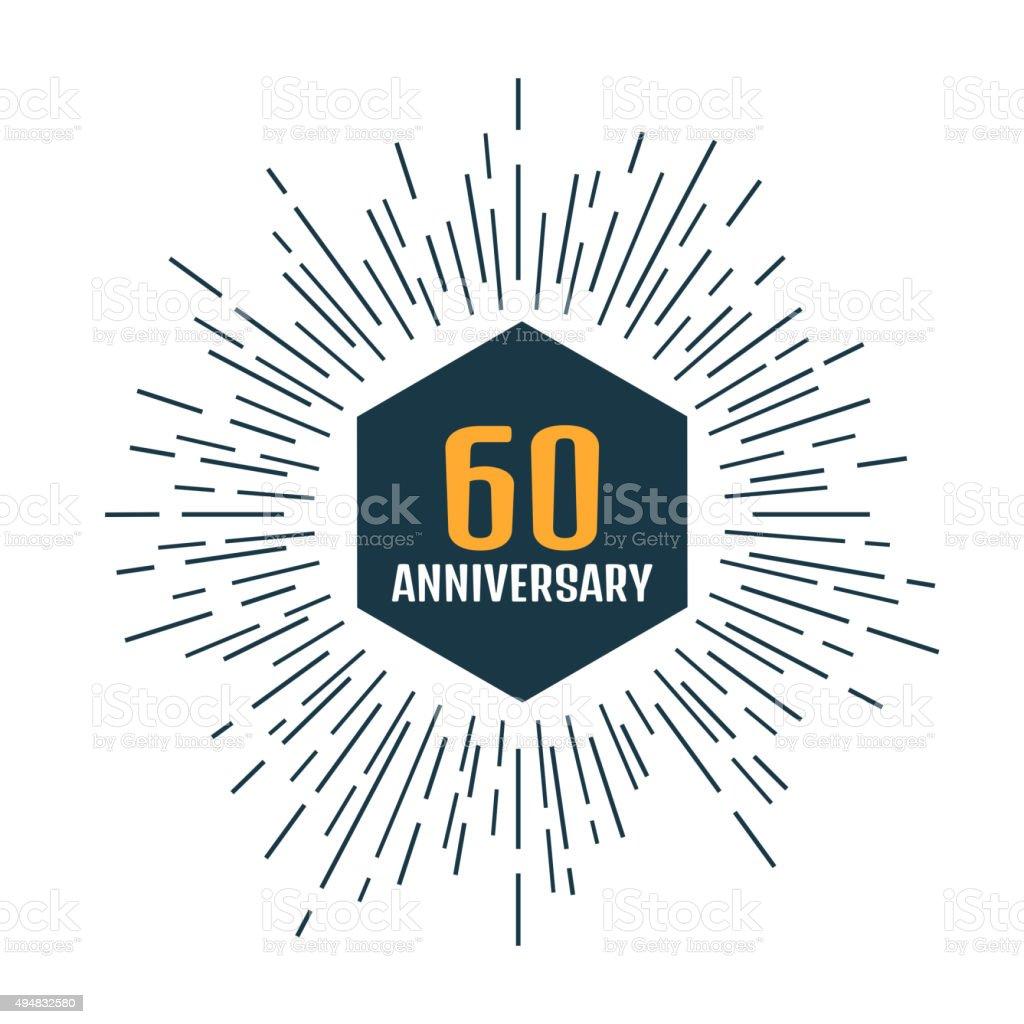 logo 60esimo anniversario. Anniversario 60. - illustrazione arte vettoriale