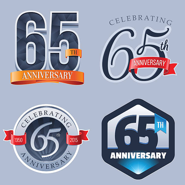 Anniversary Logo - 65 Years A Set of Symbols Representing a Sixty-Fifth Anniversary/Jubilee Celebration 65 69 years stock illustrations