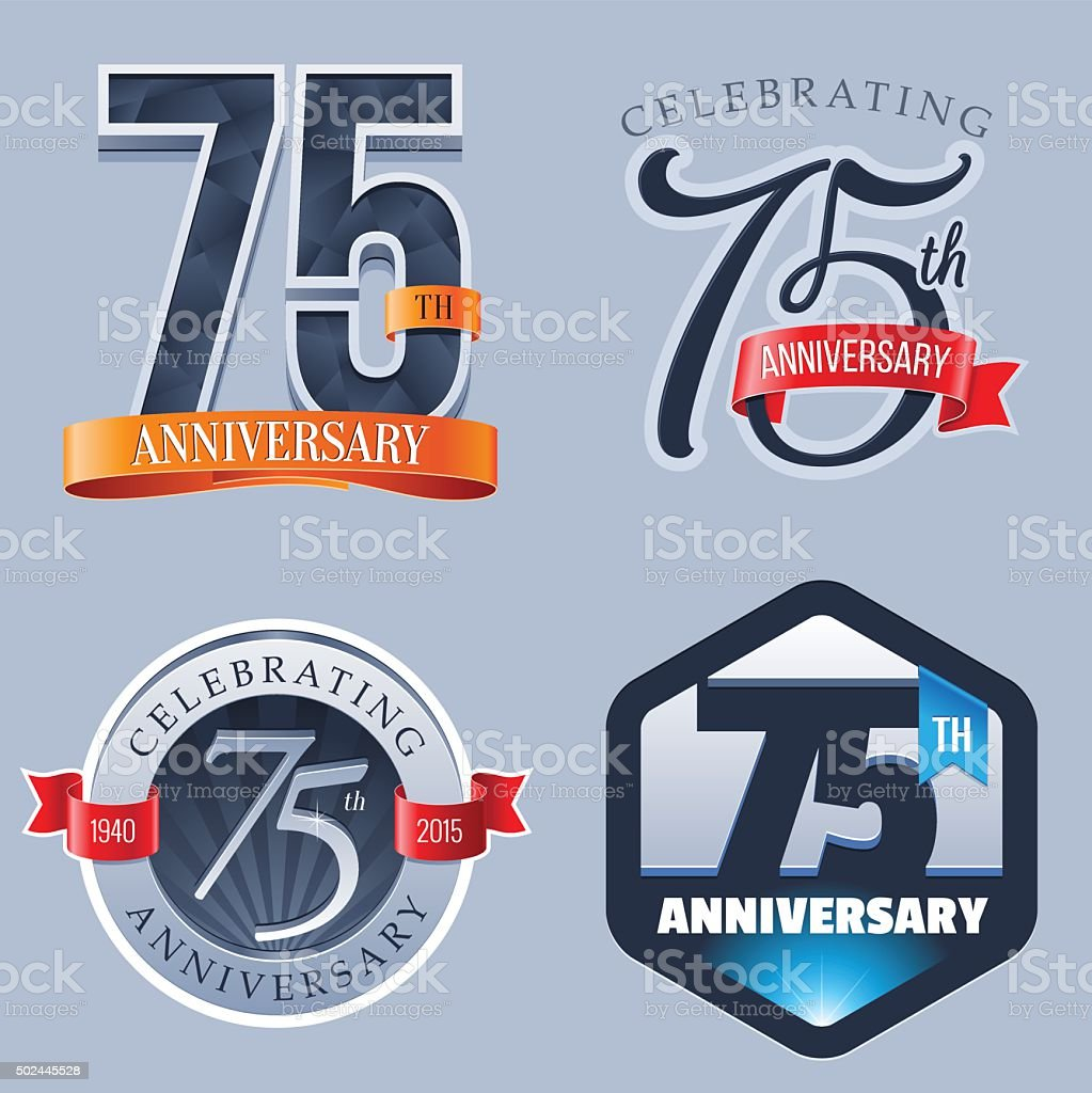 Anniversary Logo - 75 Years vector art illustration