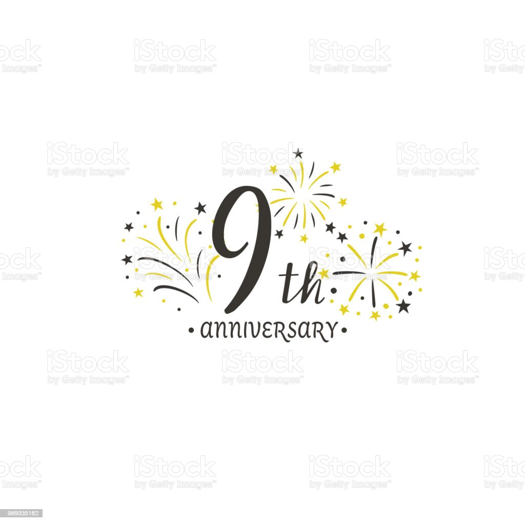 anniversary logo template with fireworks stock vector art more