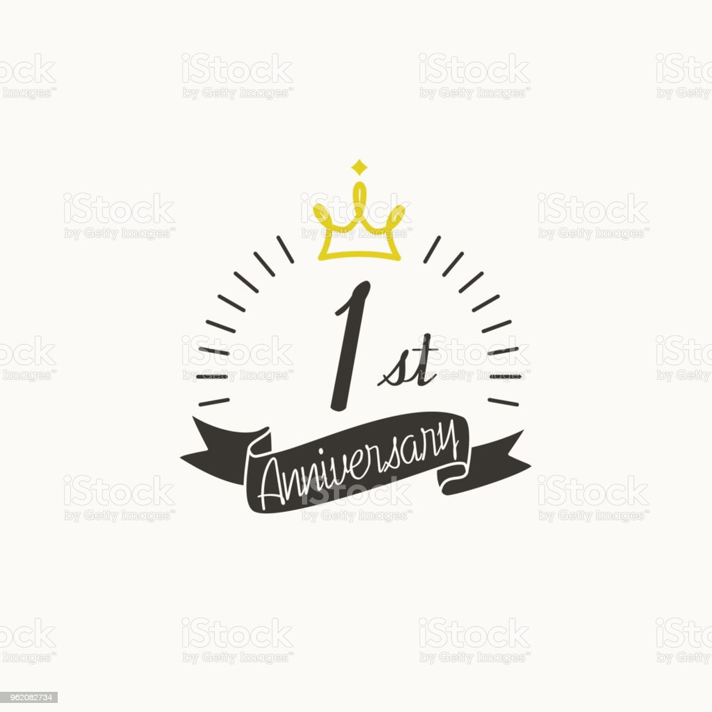 anniversary logo template with ribbon and crown 1st stock illustration download image now istock anniversary logo template with ribbon and crown 1st stock illustration download image now istock